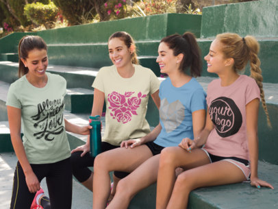Group of Four Girls Hanging out and Wearing Different T-Shirts Mockup While on Green Steps a15485