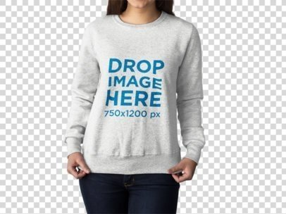 Girl Posing With her new Crewneck Sweatshirt Mockup Cropped Face Against a Transparent Surface a15505