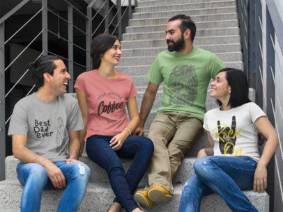 Group of Four Friends Chatting While Sitting Down in a Concrete Stairway and Wearing Different T-Shirts Mockup a15632
