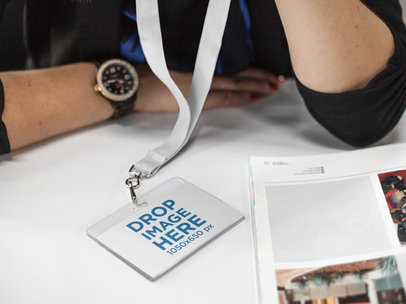 Bored Girl Wearing a Badge Holder Mockup While at the Office a15143