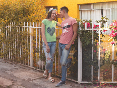 Smiling Couple Talking and Laughing While Wearing Different Tshirts Template Outdoors a15800