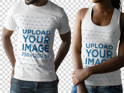 Black Couple with Cropped Faces Wearing a Round Neck Tee and a Tank Top Mockup While Against a Transparent Background a15792
