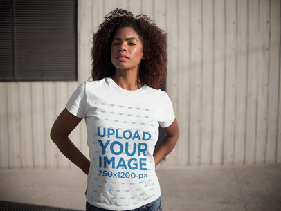 Young Woman Wearing a Round Neck Tee Mockup While Outdoors a15837