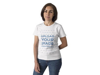 Middle Aged Woman Wearing a Round Neck T-Shirt Template While Against a Solid Background a15860