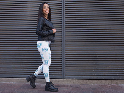 Mockup of a Gorgeous Girl Walking on the Street While Wearing Leggings a15380