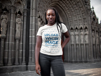 Beautiful Girl with Dreadlocks Wearing a Round Neck Tee Mockup While Near a Cathedral a15950
