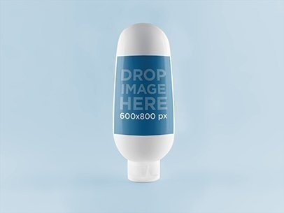 Bottle Label Mockup on Upside Down Cream Bottle a6618