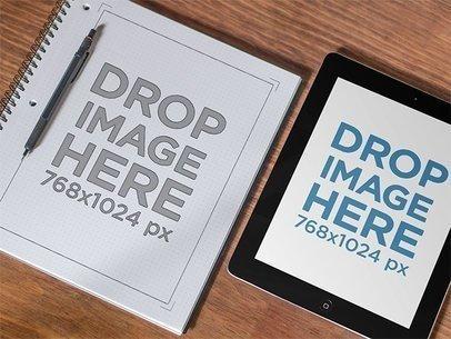 Black iPad Mockup and Wireframe Notebook 7047