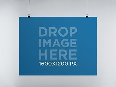 Poster Mockup in Landscape Position Hanging From a Wall a10326