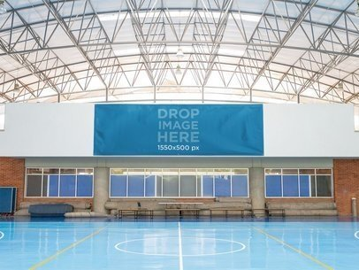 Big Horizontal Banner Mockup at a Gymnasium a10587