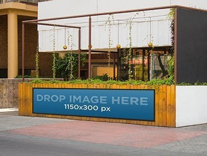Horizontal Banner Mockup Hanging From a Bar Terrace a10634