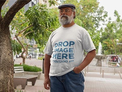 T-Shirt Mockup of a Hispanic Elder Man at a Promenade a11090