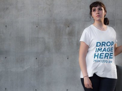 White Hipster Woman Wearing a T-Shirt Mockup a9258