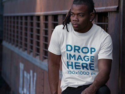 Mockup of a Round Neck Tee Featuring a Young Black Man With Dreadlocks a8770