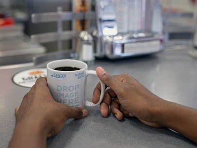 Man at a Diner Drinking from his Coffee Cup Mockup a12239