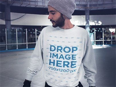 Mockup of a Hipster Guy with a Beard Wearing a Crewneck while Skating a13258