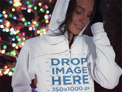 Zip Up Hoodie Winter Mockup of a Lovely Young Woman Brushing her Hair Away a13244