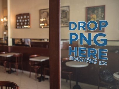 Mockup of a Door Window Decal Inside a Coffee Shop a14519