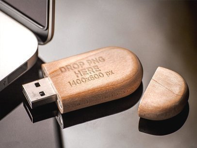 Wooden USB Flash Drive Template Near a Laptop a8851