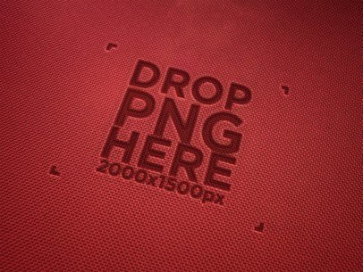 Red Fabric Texture Logo Mockup a14819