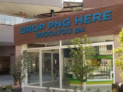 Storefront Logo Mockup With Trees in Front of it a14851