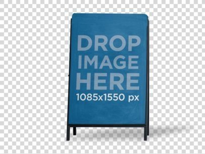 Metal Advertising Board Mockup Standing in a Transparent Environment a15055