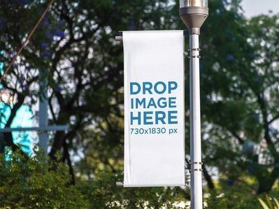 Vertical Banner Mockup Hanging on a Street Lamp Pole a15163
