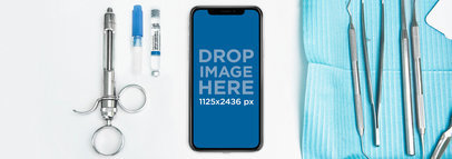Space Gray iPhone X Mockup at a Dentist Desk a17581
