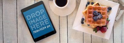 Beautiful Tablet Mockup of a Breakfast Scene a3698